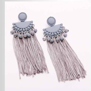 Light grey tassel Earrings